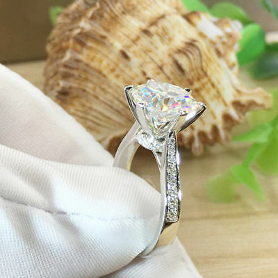 3CT 9mm Round-Cut Diamond Solitaire Engagement Ring 14K White Gold Finish