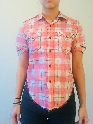 Vintage Levis Shirt Red And White Plaid Xs