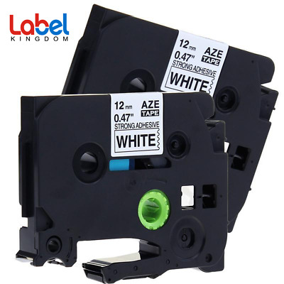 TZe-S231 P-touch Label Tape Compatible for Brother 12mm Strong Adhesive 2PK