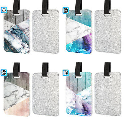 Marble Mint Green Wood Pattern Leather Glitter Luggage Tag Travel Bag