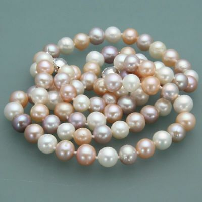 Beautiful 7-8mm Natural Akoya Multicolor Freshwater Pearl Necklace 24 Inch