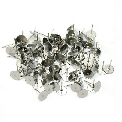 100x Silver Plated Steel Flat Pad Earring Post Stud Jewelry Findings DIY 6mm hot