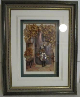 Shadow Box Framed 3D Paper Tole The Visitor Arthur Hopkins Signed Marie Watkins