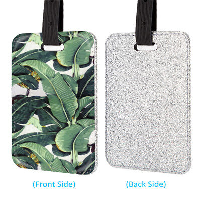 Banana Leaves Pretty Leather Glitter Luggage Tag Travel Bag Silver