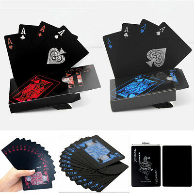 Waterproof Black Playing Cards Quality Plastic PVC Poker Gift Durable Blue Red