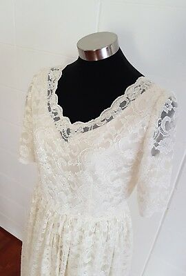 Vintage Chantilly Lace Wedding Prom Dress Tea Length Cream