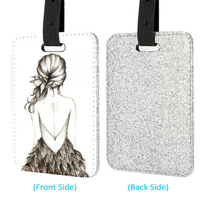 Pretty Girl Back Leather Glitter Luggage Tag Travel Bag Silver
