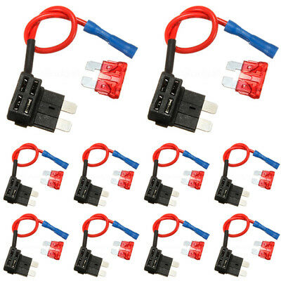 10x Standard ATO Fuse Tap Piggy Back Blade Holder + 10AMP Blade Fuse Truck Auto