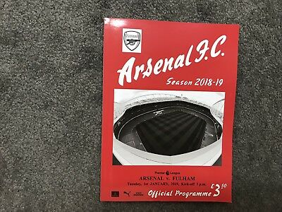 Arsenal v Fulham 1st January 2019 Mint Condition Free Post
