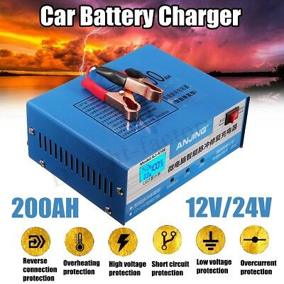 12/24V 200AH Car Battery Pulse Repair Charger Automatic Intelligent Lead Acid
