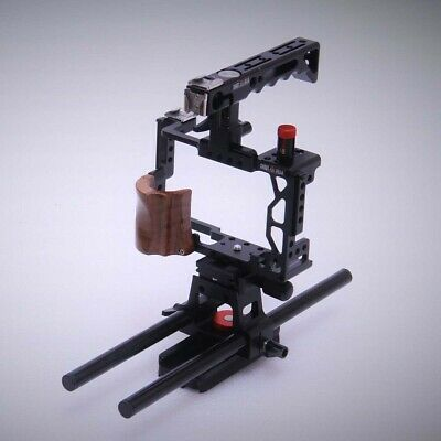 Sony A7II A7RII A7SII camera cage with walnut grip handle Rod Adapter Shootvilla
