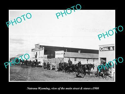 OLD LARGE HISTORIC PHOTO OF NATRONA WYOMING, THE MAIN STREET & STORES c1900