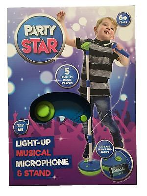 DAMAGED BOX Party Star Kids Childrens Light Up Musical Microphone & Stand - Blue