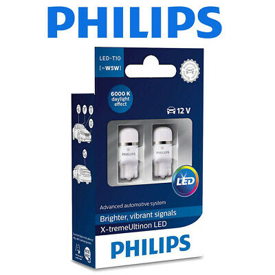 Philips Vision LED Interior T10 W5W Bulbs 6000K Xenon White 12V 127916000KX2