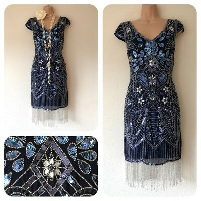 NWT Frock & Frill Sequin Beaded Embellished Dress 20's Gatsby Flapper 12 Party
