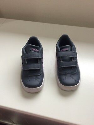 Adidas toddler VL Court shoes grey and purple size 8