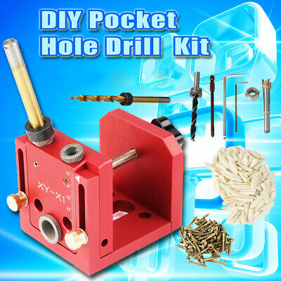Pocket Hole Jig Dowelling Drill Guide DIY Woodworking Joinery Carpentry Tool Kit