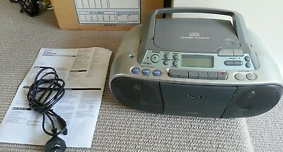 Sony CFS-01 Boombox CD AM FM Radio Tape Cassette Player with LCD display