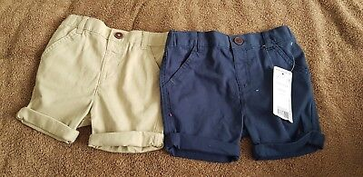 Baby Boys Shorts, Twin Pack, 9-12 Months, Bnwt