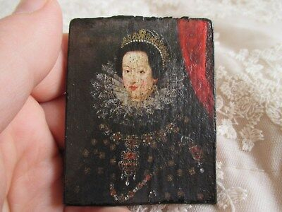 Dark Miniature Picture Portrait of a Historic Lady Queen on Wooden Panel