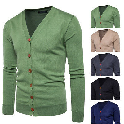 Sweater Acrylic Winter Extended PLUS SIZE Basic Men's Knitted Button Cardigan