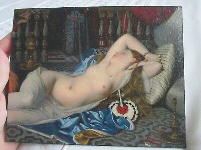 Beautiful Small Reclining Female Nude Picture of a Young Lady on Wooden Panel