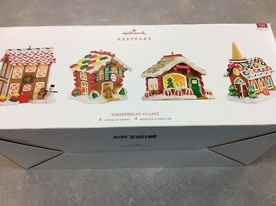 Gingerbread Village Hallmark Ornaments 2018 Set Of 4 Houses Magic Cord Required