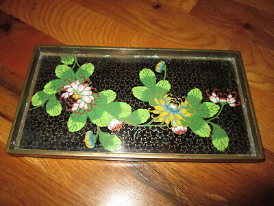 "VINTAGE Chinese Cloisonne Enamel Floral Footed 8"" X 4 1/4"" Dresser Tray"