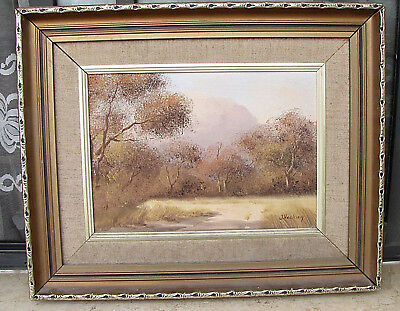 J.Hacking British Artist Oil on Board Painting African Savanna Landscape Signed