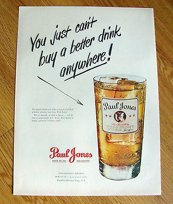 1950 Paul Jones Whiskey Ad  Can't Buy a better Drink