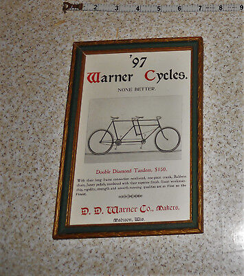 1897 Year D.D. Warner Madison Wis Double Diamond Tandem Bicycle Ad Wall Display