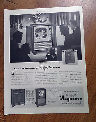 1950 Magnavox Radio-Phonograh TV Television Ad the Modern Theatre