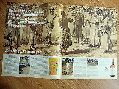1971 Canadian Club Whisky Ad Hid a Case Africa Stanley Met Livingstone