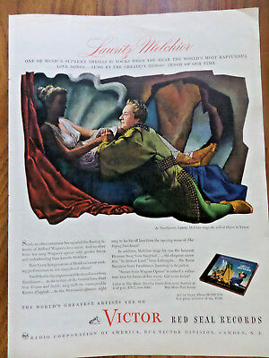 1945 RCA Victor Red Seal Records Ad Lauritz Melchior As Tannhauser Hymn to Venus