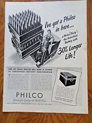 1945 Philco Thirty The Industrial Battery with 30% Longer Life Ad