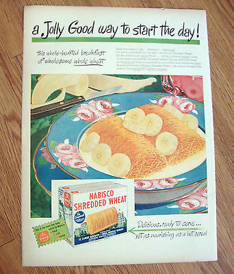 1946 Nabisco Shredded Wheat Cereal Ad Jolly Good Way to Start the Day