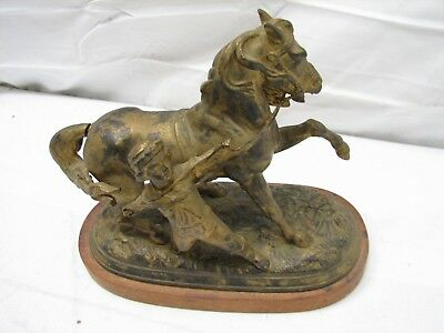 Early Figural Clock Top Boy Wrangling Horse Bronze Finish Cast Iron Sculpture