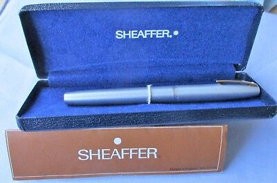 11- Very Nice Vintage Sheaffer Brushed Chrome F.p. In Original Box + Papers