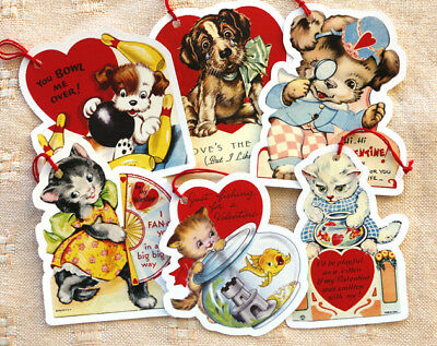 """Valentine Tags~6 Gift/Hang Tags~""""Cats & dogs""""~Vintage Card Image~Paper Ornaments"""