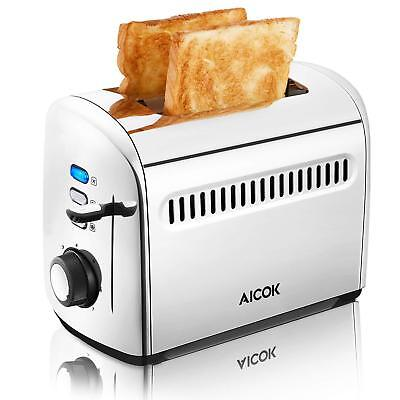 Toaster, Aicok 2 Slice Stainless Steel Toaster with Bagel, Defrost, Cancel Funct