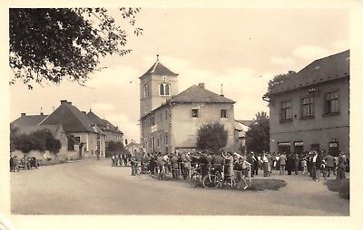 Tlumačov Czech Republic~Tobak Tobacco Store~Crowd Gathered~Bicycles~RPPC