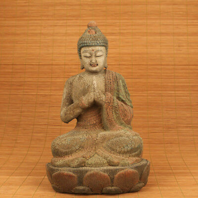Antique Asian tibetan wood hand carving buddha statue Blessing home decoration