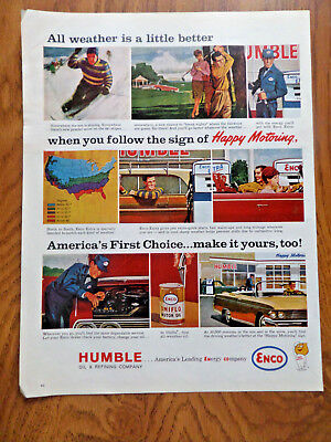 1963 Humble Oil Enco Ad Happy Motoring All Weather is a Little Better