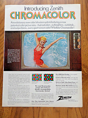 1969 Zenith TV Television Ad Introducing Zenith Chromacolor