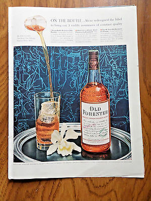 1956 Old Forester Whiskey Ad  On the bottle We've Redesigned the Label