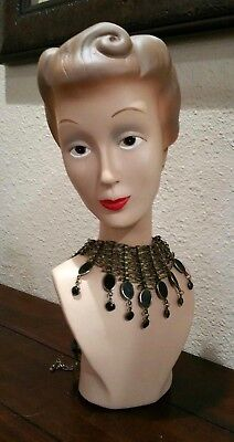 Upscale  Mid Century Arte Deco STUNNING Large Hand-Painted  bust statue