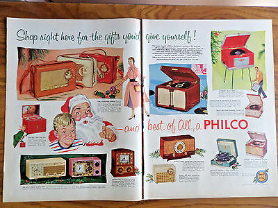1955 GE General Electric Radios Ad 1955 Philco Radio Stereo Ad  Christmas Themes