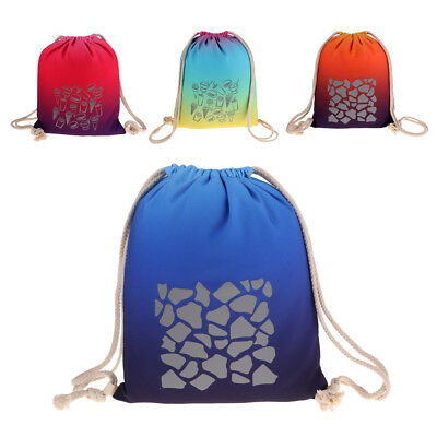 Portable Lightweight Reflective Drawstring Gym Bag Backpack for Adult Kids