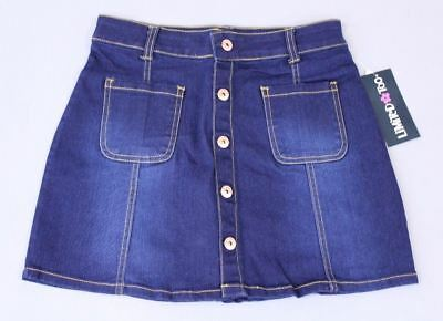 Limited Too Girl's Button Front Stretch Denim Skirt AB4 Blue Size 10/12 NWT $42