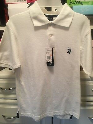 US Polo Assn. Childrens Apparel U.S. Boys Shirt  WHITE- Collar - SIZE 8